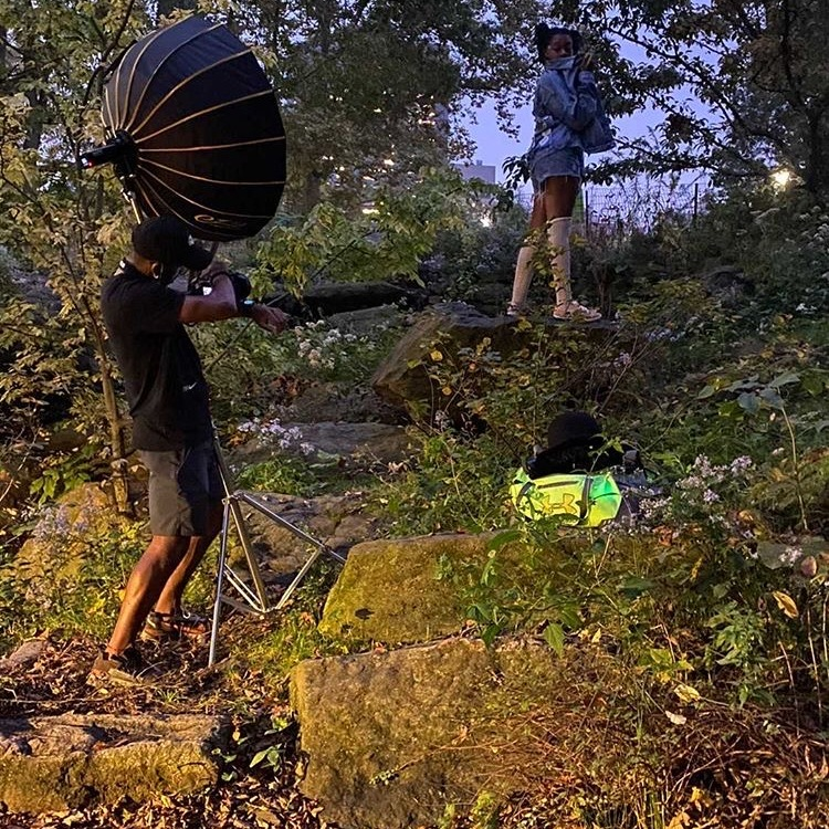 Behind the scenes of photo shoot in Central Park